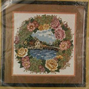Cottage Floral Wreath Needlepoint Kit